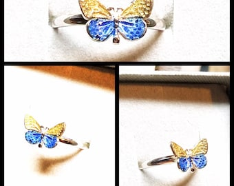 Dainty Butterfly Ring in Sterling Silver. Stacking Butterfly Wings Ring for Women in Blue and Gold
