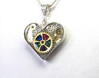 Steampunk Crystal Heart in Sterling Silver