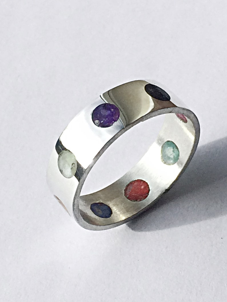 Stunning Unusual Rainbow Crushed Shell Inlay Dots Ring image 0