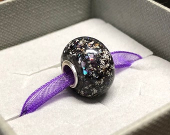 Pet Cremation Ashes Bead. Pandora Style European Memorial Bead Sterling Silver Eyelets. Silver Snake Chain Optional