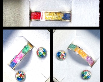 Sterling Silver Rainbow Seven Colour Shell Inlay Ring with Matching Rainbow Multi Colour Half Sphere Resin Earrings with Silver Posts