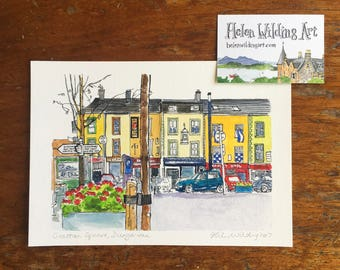 Grattan Square, Dungarvan, County Waterford, Ireland (signed fine art print of original sketch)