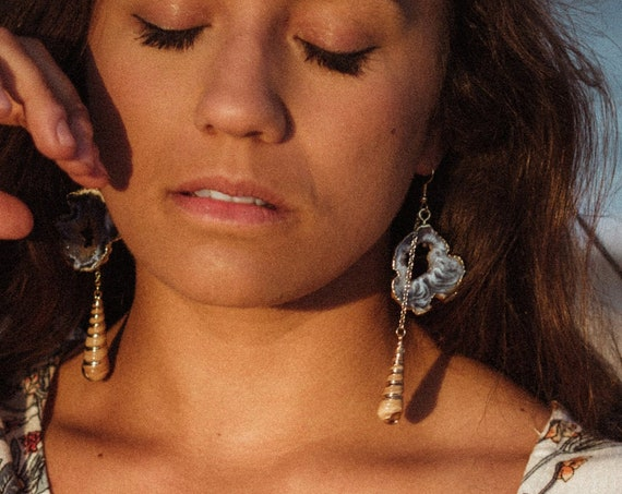Sliced Druzy Agate & Sea Shell Earrings