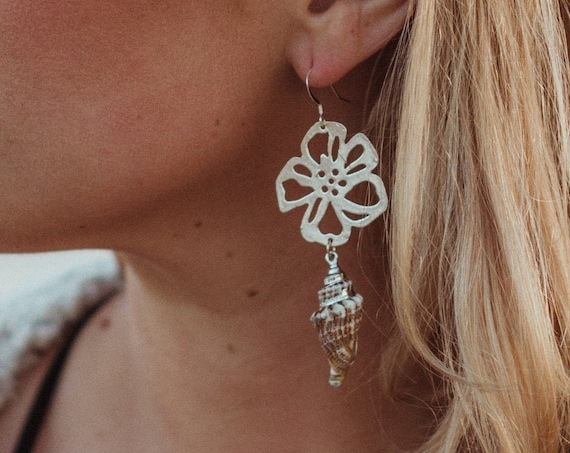 Silver Hibiscus Flower and Shell Earrings