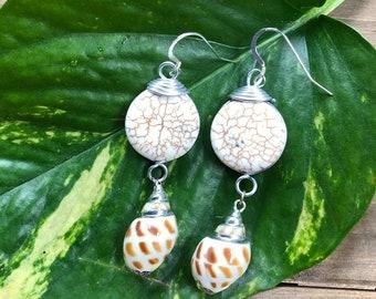 """Ocean Reflections"" White Shell Earrings"