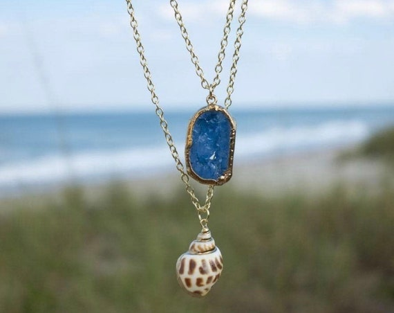 Ocean Blue Druzy Agate Layered Necklace