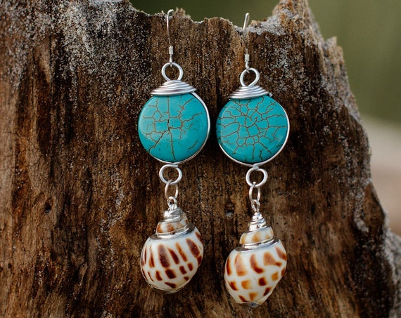 """Ocean Reflections"" Teal Shell Earrings"