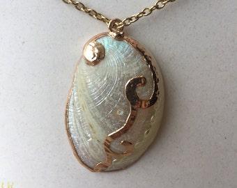 White Abalone Shell Pendant Necklace