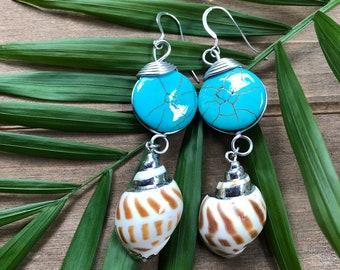 """Ocean Reflections"" Teal Shell Earrings"