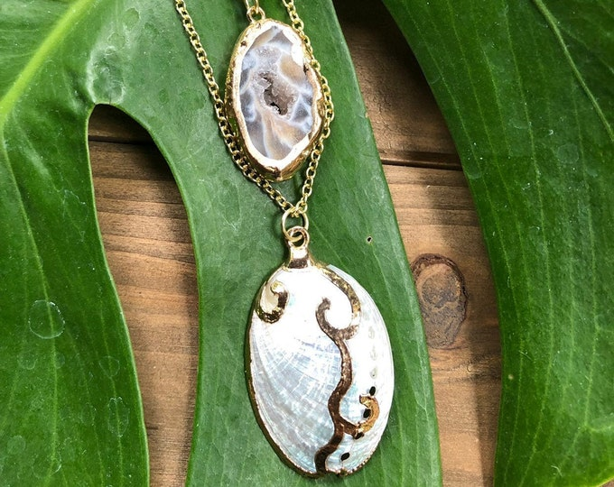 White Abalone & Druzy Agate Layered Necklace