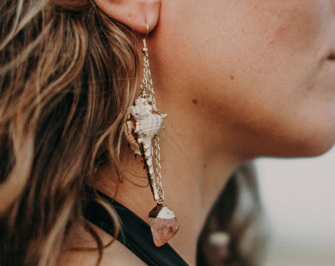 Boho Luxe Peach & Gold Murex Shell Earrings