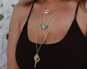 Howlite & Triple Shell Layered Necklace