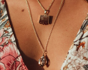 Sliced Citrine & Shell Layered Necklace