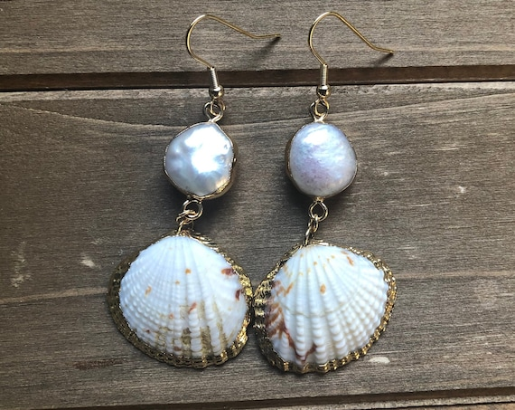 Ocean Pearl & Shell Earrings, Holiday Gift for her, Gift for Wife, Beach Lover Gift, Mermaid Jewelry, Stocking Stuffer for Wife