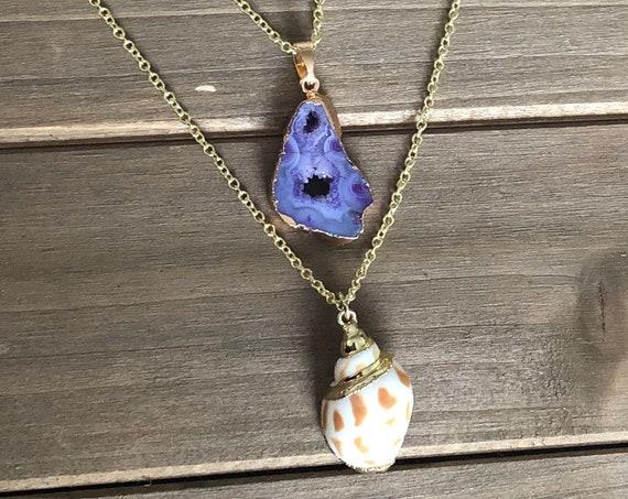 Purple Sliced Druzy Agate Necklace
