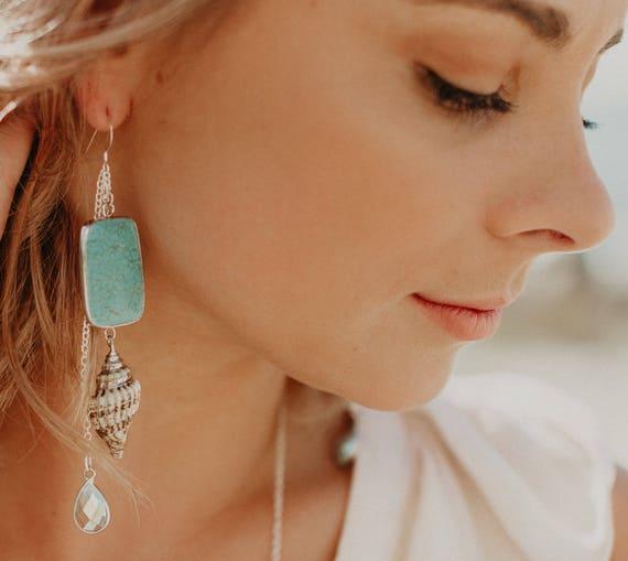 Turquoise Boho Shell Earrings