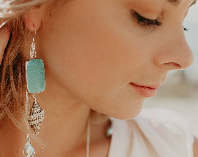 Turquoise Boho Shell Earrings