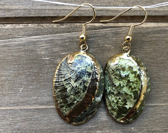 Gold Accented Green Abalone Shell Earrings