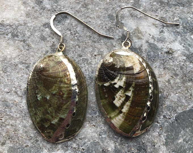 Green Abalone Shell Earrings