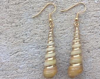 "Gold Plated Tower Shell ""Unicorn Horn"" Earrings"