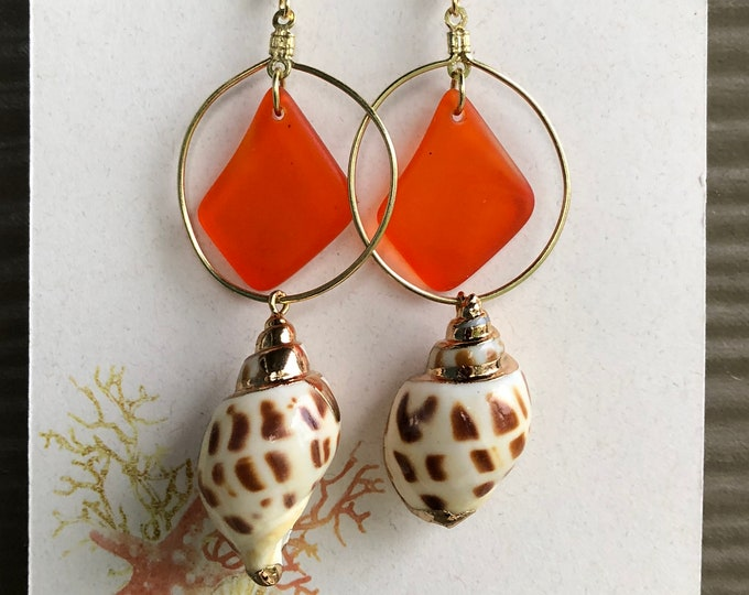 "Orange ""Summer"" Seaglass Earrings"