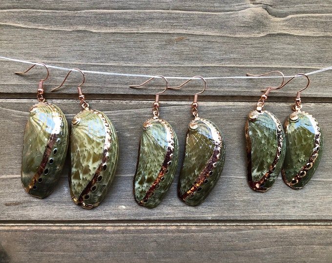 Green Abalone Earrings with Gold Accents