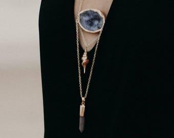Druzy Agate Bohemian Pendant Necklace