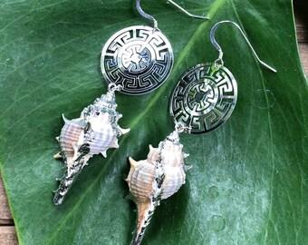Silver Geometric Large Earrings