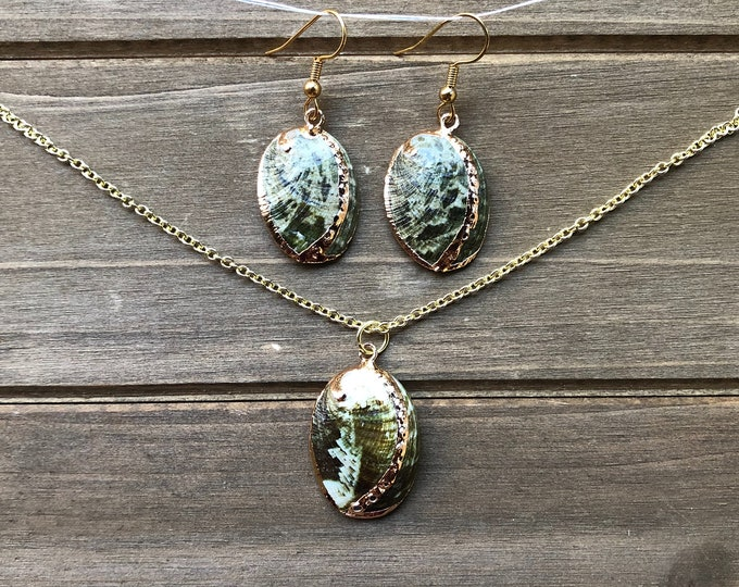 Gold Plated Green Abalone Shell Necklace and Earring Set