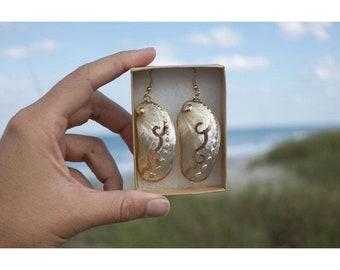 Long White Abalone Shell Earrings