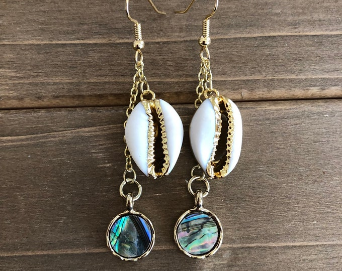 Cowrie & Abalone Shell Earrings