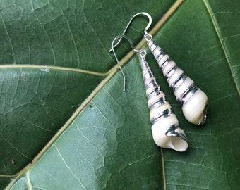Sterling Silver Tower Shell Earrings
