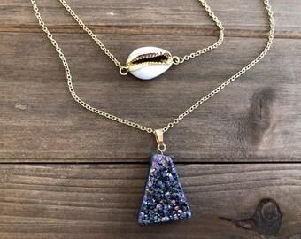 Amethyst Druzy Layered Necklace