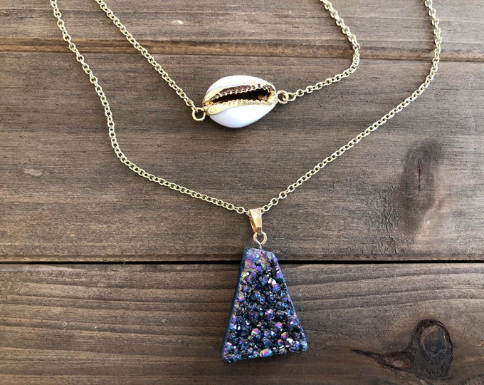 Amethyst Druzy Layered Necklace