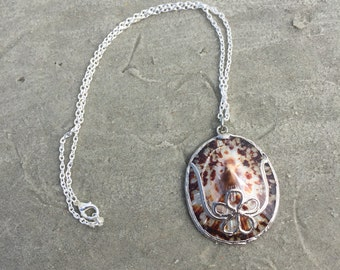 Floral Accented Brown Turtle Shell Necklace
