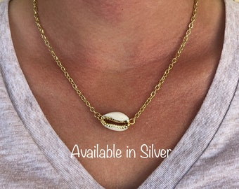 Silver OR Gold Finished Cowrie Shell Necklace