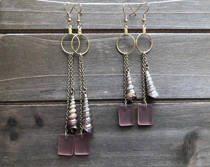 Long Blush Sea Glass & Shell Earrings