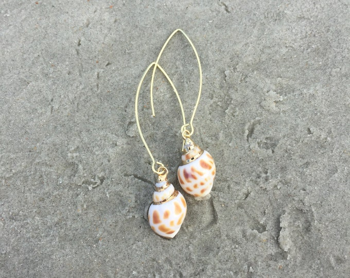 Gold Dangle Drop Shell Earrings