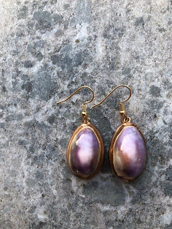 Purple Cowrie Shell Earrings