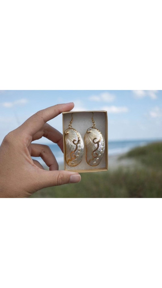 Long White Abalone Shell Earrings