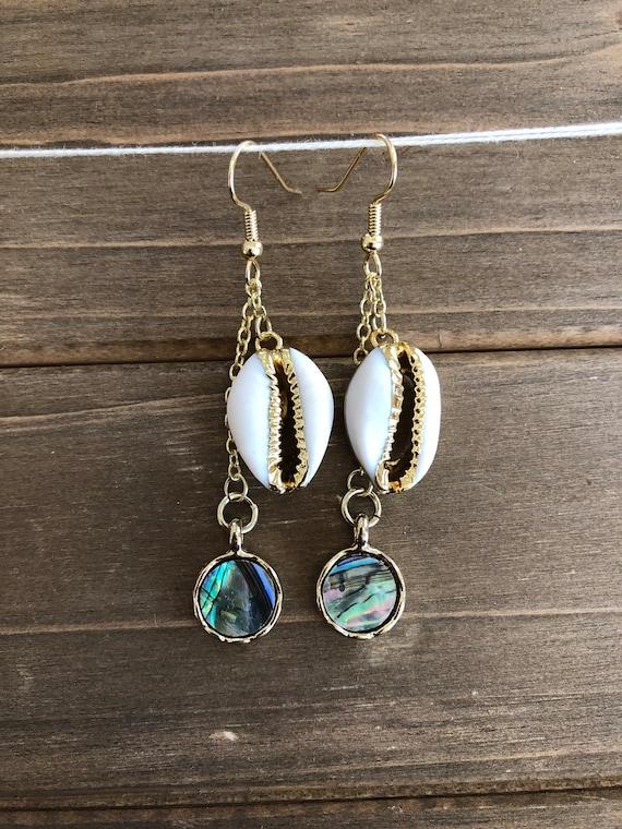 Cowrie & Abalone Shell Earrings