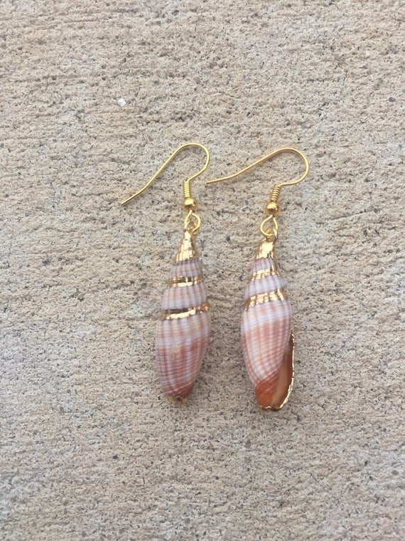 Gold Miter Shell Earrings