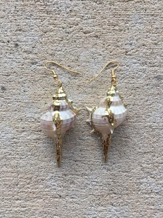 Large Gold Murex Shell Earrings