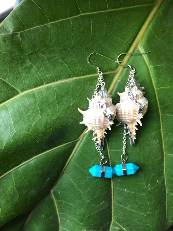 Teal Accented Silver Murex Shell Earrings
