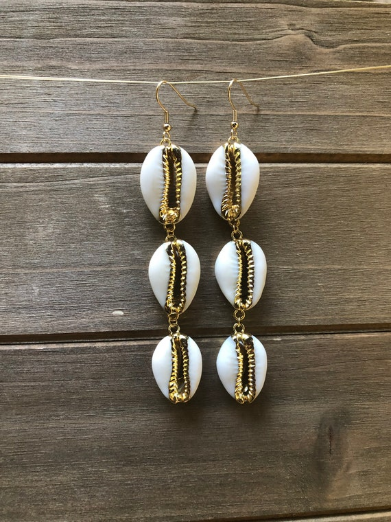 Triple Shell Cowrie Shell Earrings