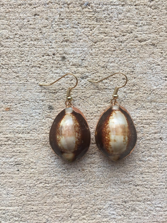 Leopard Cowrie Shell Earrings