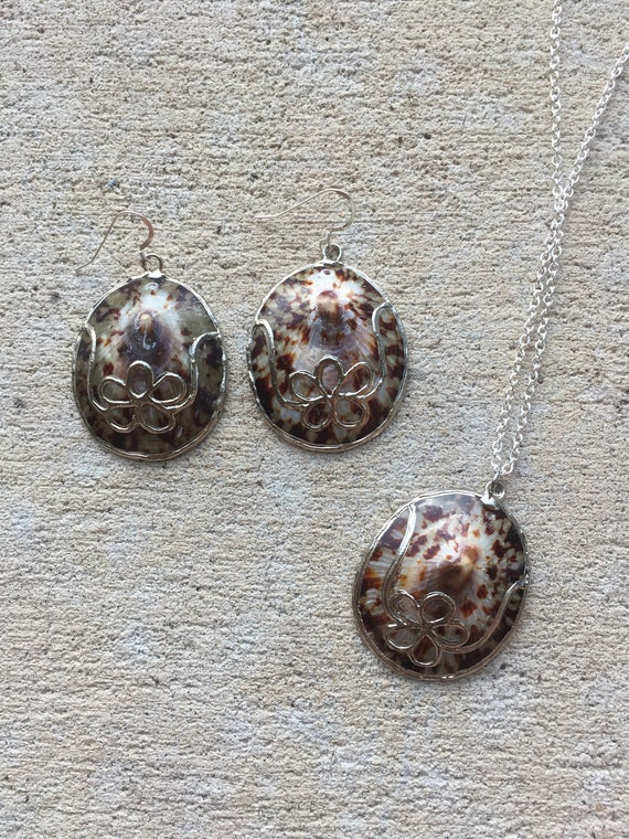 Brown Turtle Shell Necklace Set with Sterling Ear Wires