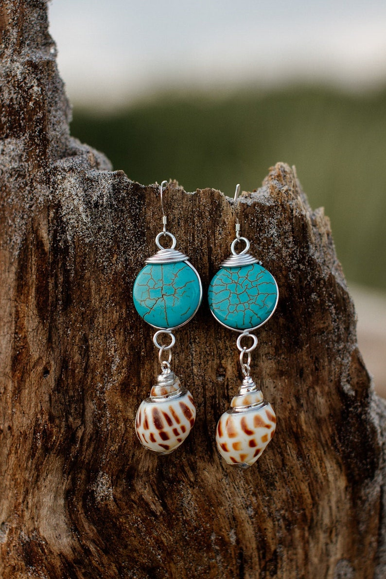 Chunky Teal Earrings Holiday Gift for Her Gift for Women image 0