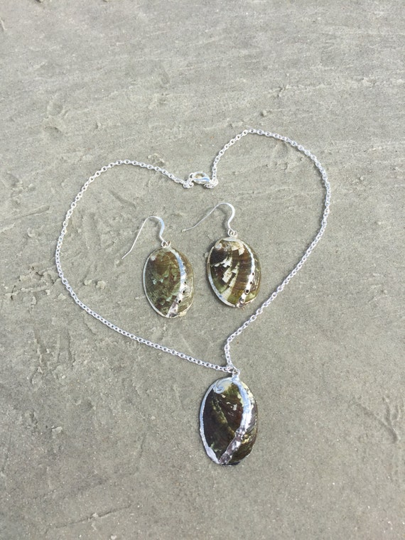 Silver Plated Green Abalone Shell Necklace and Earring Set
