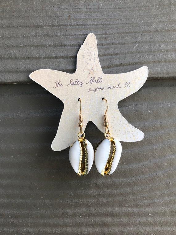 Cowrie Shell Earrings in Gold